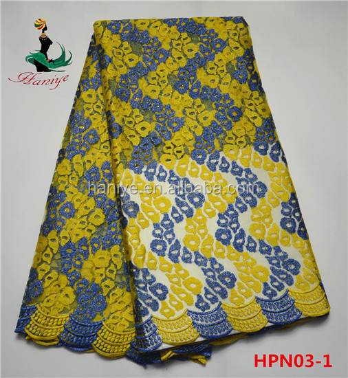 Haniye Hpn03 1 Royal Blue Yellow Fashion Indian Tulle Lace Fabric For Wholesale African Net Lady Dress