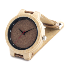 2016 Fashion Men's Watch Natural Wood Watch Men Top Brand Quartz Watch Colorful Hand With Real Leahter Band In Gift Box