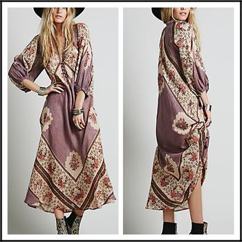 Aliover Print Floral Long Sleeve Arabic Maxi Kaftan Ebay China ...