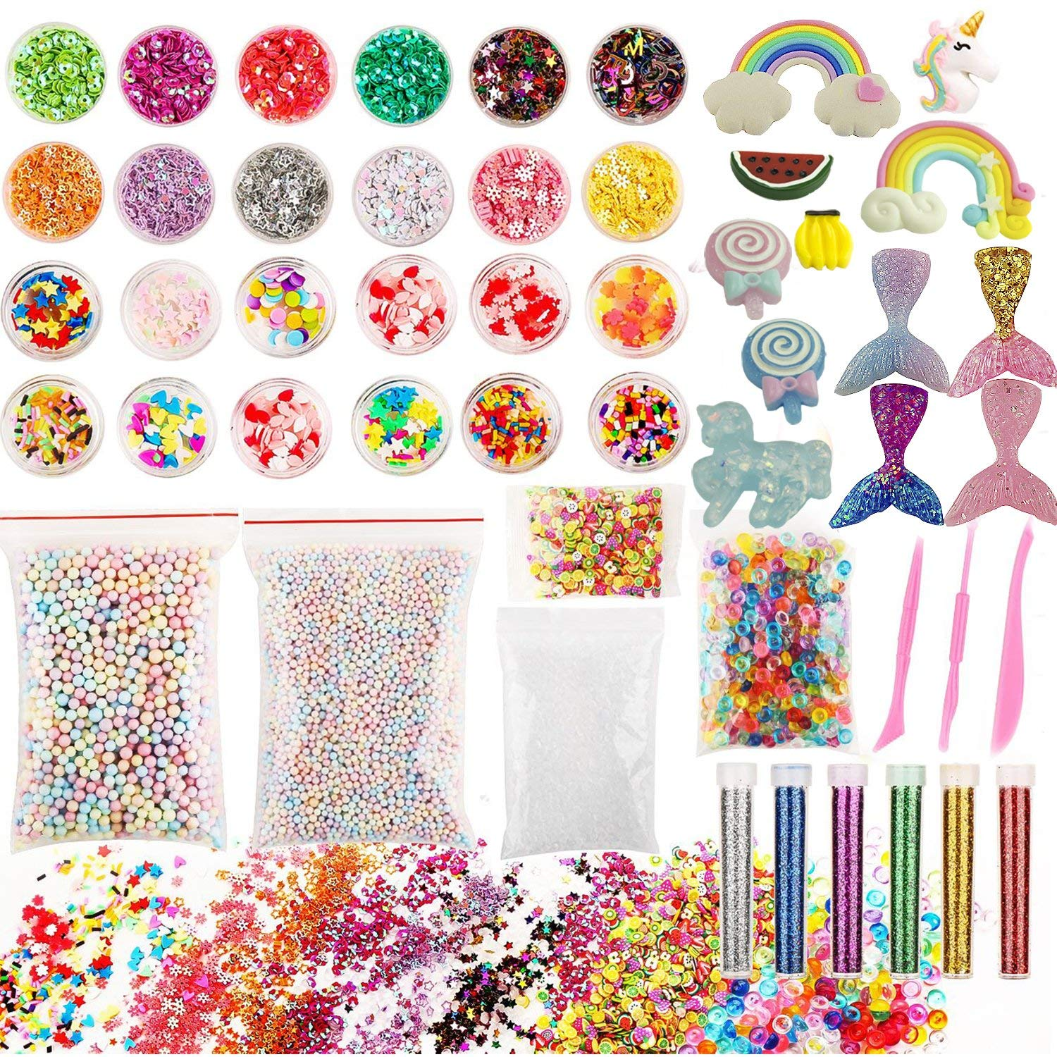 Slime Supplies kit, 50 Pack Slime Kits Include Slime Charms Fishbowl Beads, Pearl, Floam Beads, Glitter Jars, Confetti, Slime Tools, DIY Art Craft for Homemade Slime