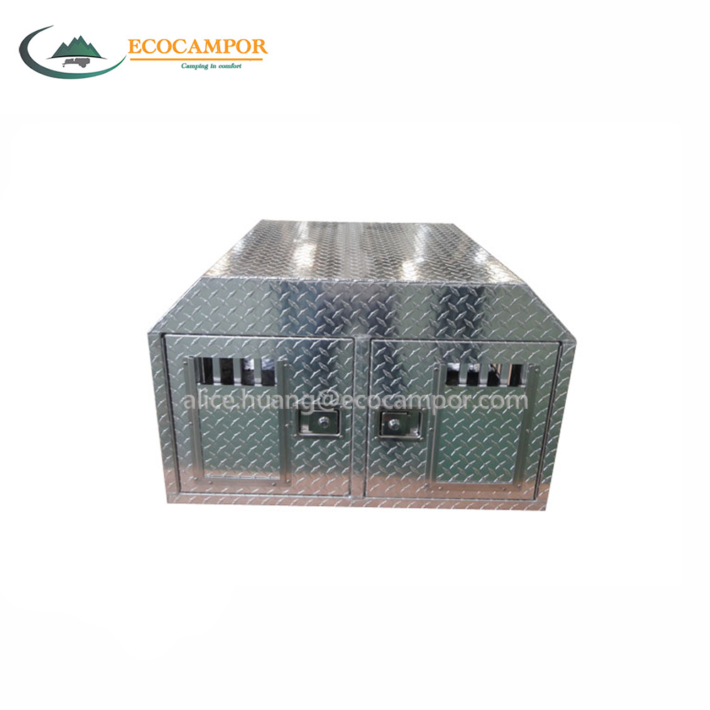 Aluminum slide in lightweight dog box for truck