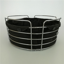 ROUND METAL WIRE BREAD BASKET WITH BLACK COTTON CLOTH COVER