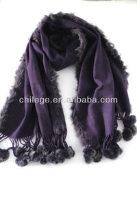 cashmere pashmina wraps with fur balls