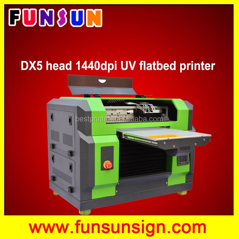 CD printing A3 UV flatbed plotter with dx5 heads 1440dpi