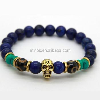 Skull Bracelet Mens Bracelets Uk Nature Bead