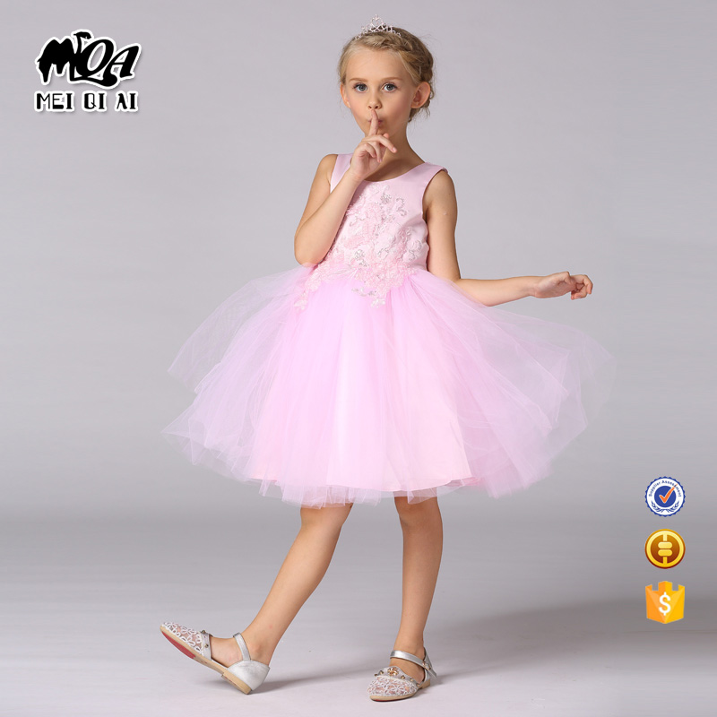 2017 Kids clothes hot sale good price wedding gown models name brand kids dress T153