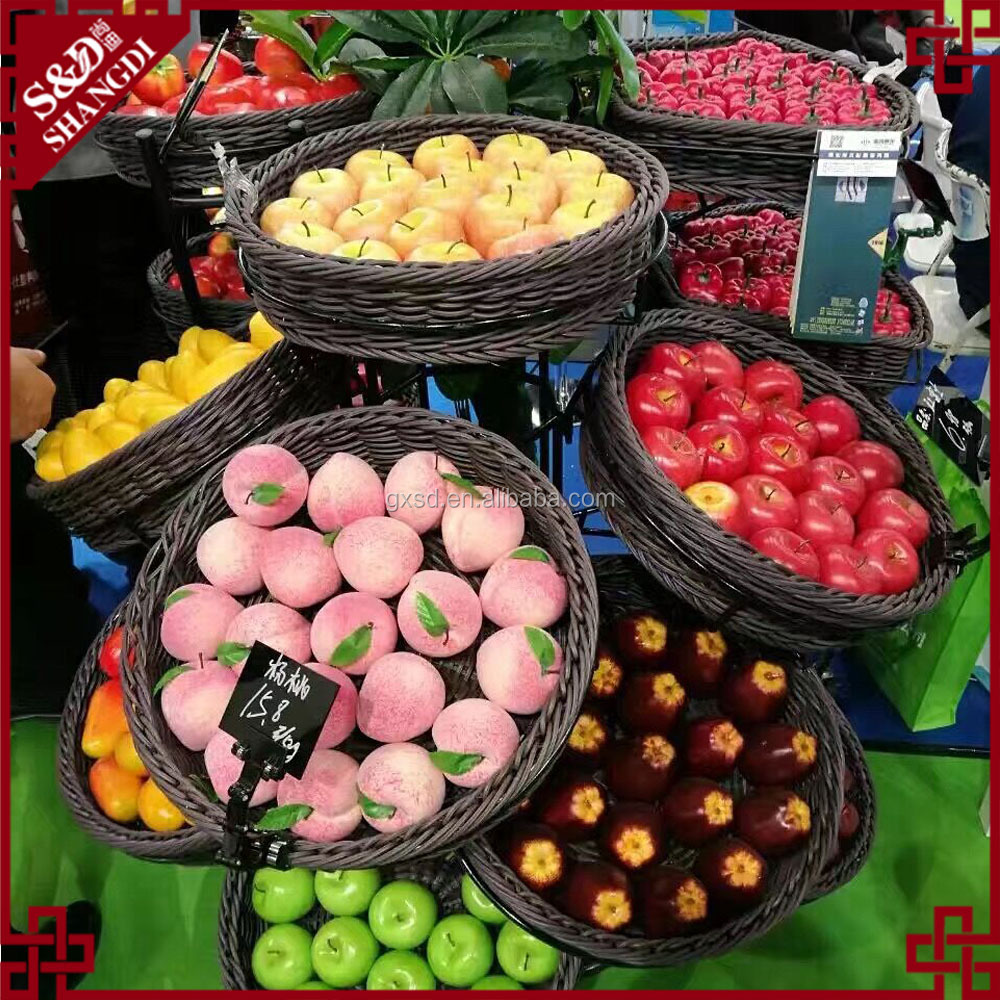 High quality commercial fruit and vegetable display units with rattan basket