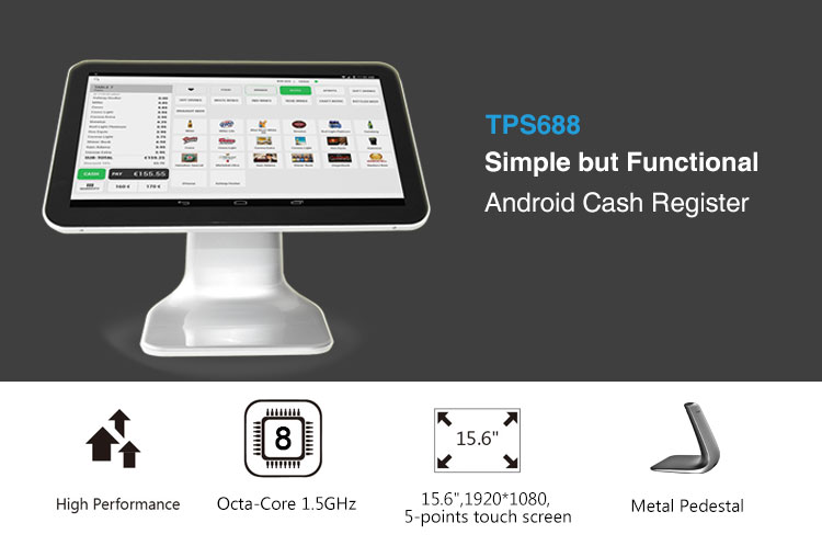 Fast speed 15 inch android retail Touch Screen epos All In One Pos System