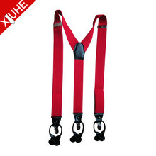 Unisex Clip-on Braces polyester suspender elastic fabric for suspenders for men