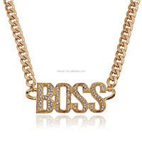 New Arrival Necklace Gold Sliver Color Boss Words Hip Hop Jewelry Necklace ZQ-0046