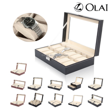 Watch Packaging Storage Box With Window,2/3/4/6/10/12/20/24 Slots Pu Leather Watch Box,Stock Watch Gift Box Wholesale