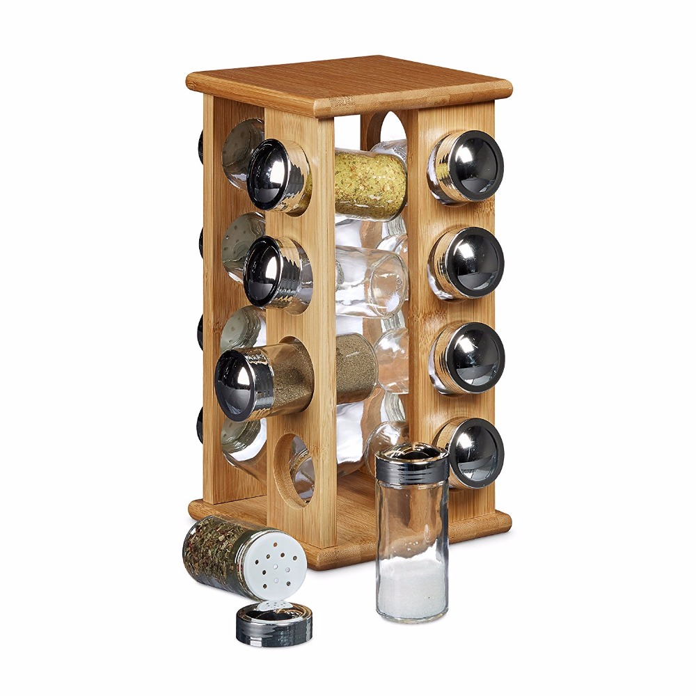 Bamboo revolving spice rack with 12 glass spice jars buy spice holderspice rackspice stand product on alibaba com