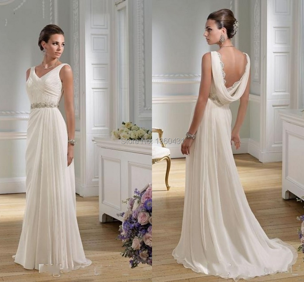 2015-Dynamic-Elegant-Classic-V-Neck-Bridal-Gowns-A-Line