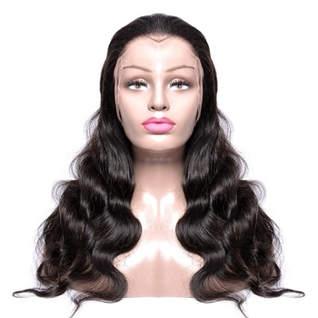 Body wave indian hair wig natural human hair virgin remy cuticle aligned front lace wig