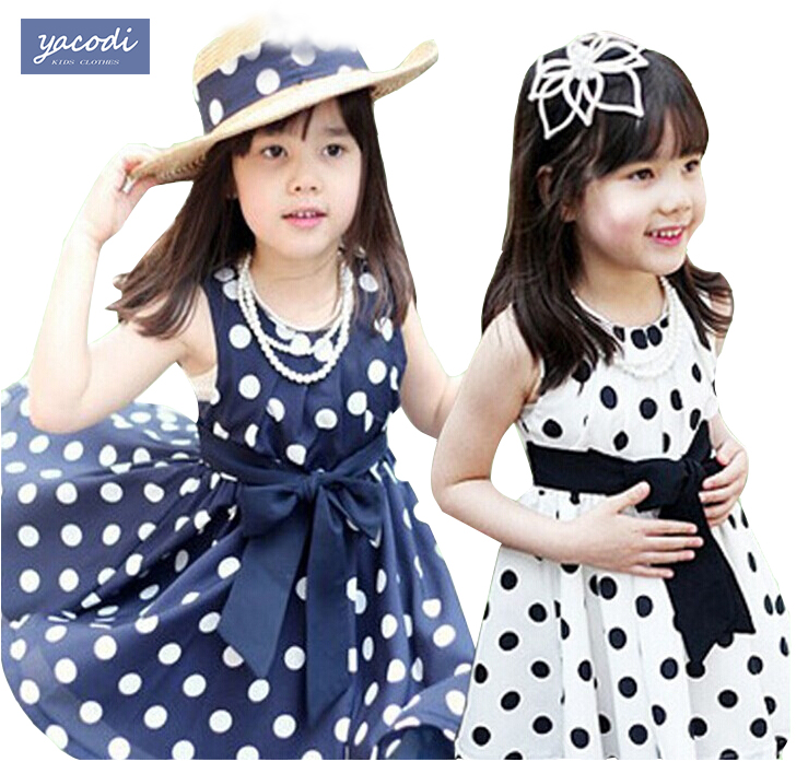 2016 Summer Polka Dot Girls font b Dress b font for 2 7y Baby Girls font