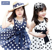 2016 Summer Polka Dot Girls Dress ,for 2~7y Baby Girls dress Point Dress Kids Wear Casual Children Clothing, 2 Color Available