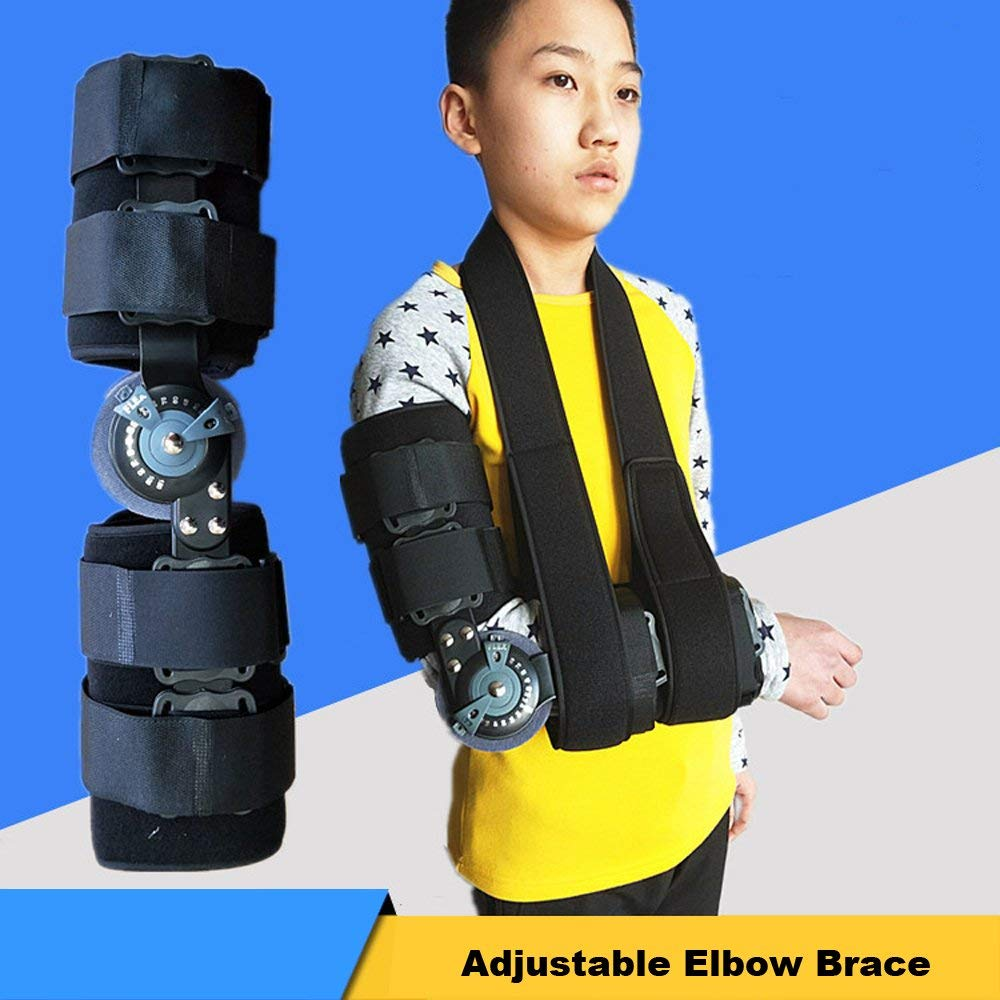 Hinged Full Arm Bracket Stabilizer Braces Support Designed specifically for elbow injuries, this brace is ideal for dislocations, epicondylitis, fractures, rom orthosis, Left and right One Size Fits
