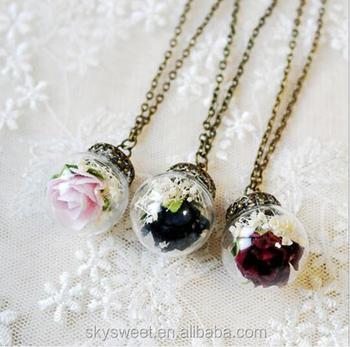 Mode Halskette Mit Getrocknete Blume Glas Vintage Halskette Vintage