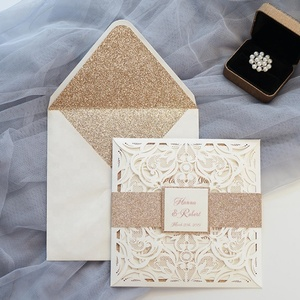 Ivory white invitation laser cutout wedding invitation card sparkling invitation custom belt envelope