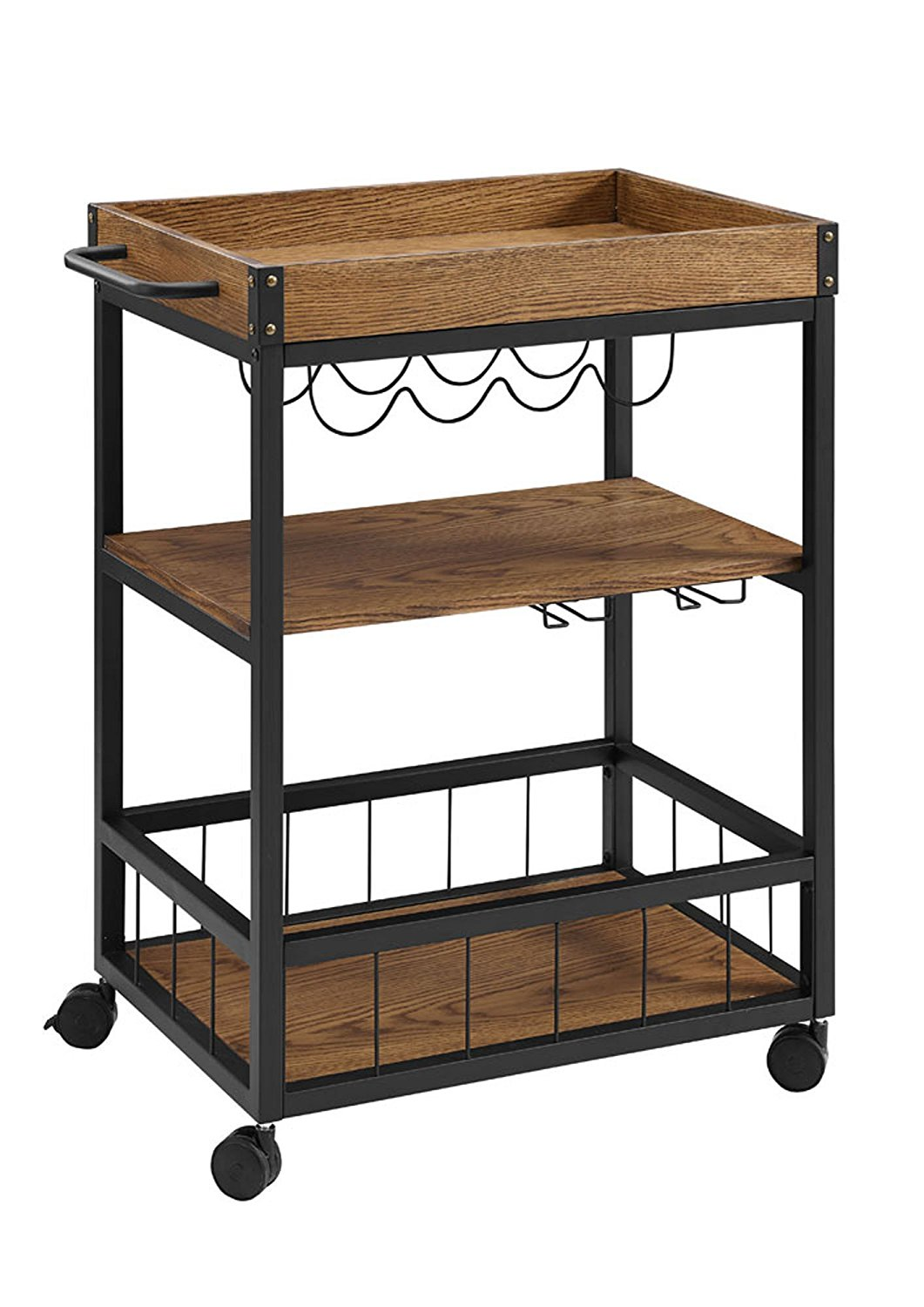 Rustic Industrial Style Three Shelves Kitchen Cart/ Glass Cup Racks For  Ample Space - Buy Display Racks For Kitchen,Kitchen Storage Cart,3 Shelves  For ...