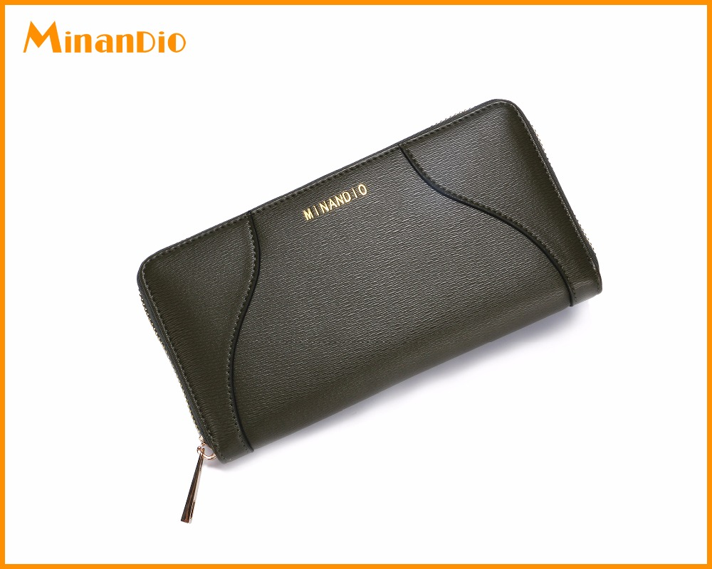 Long Shape PU Leather green Wallet Card Bag with Zipper Elegant Purse for Women