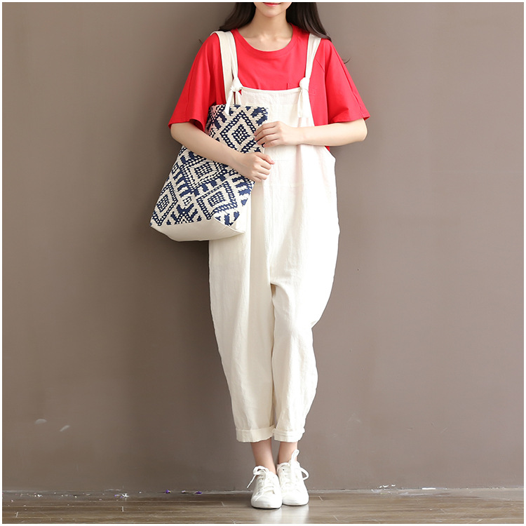 bb1fadcee9515 2019 Wholesale Women Casual Loose White Cotton Linen Jumpsuits ...