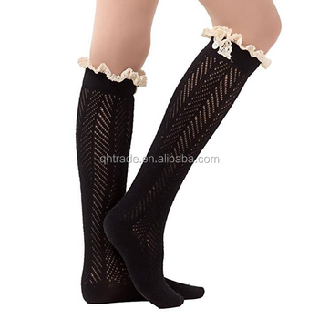 15c4ac968b7 Fashion Women s Leg Warmers Knee High Crochet Knitted Cotton Lace Trim Boot  Socks with Button