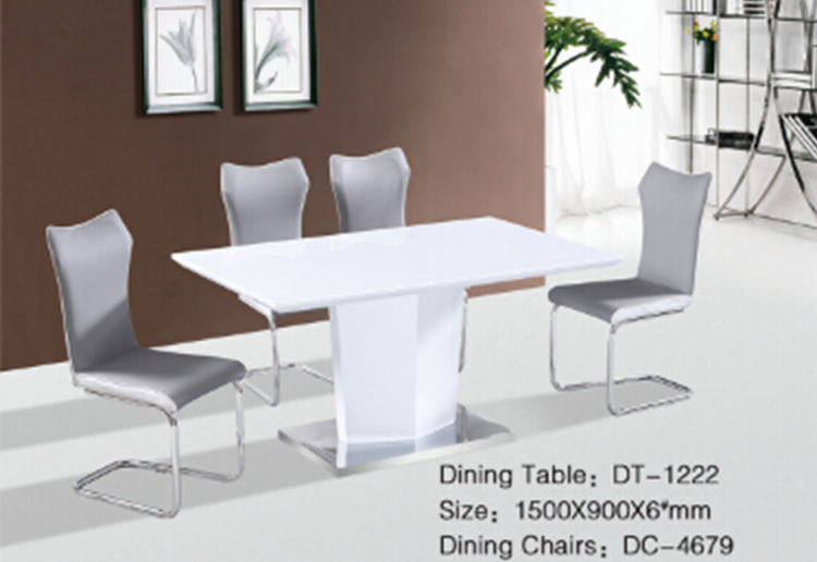 Latest milk color glossy painted wooden single leg dining for Single leg dining table