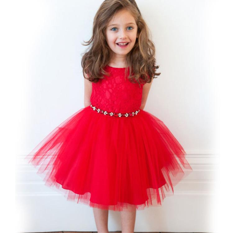 4add5e67d0227 Get Quotations · Original single child belt dress girls princess dress  children wedding cute dresses ceremony red dress