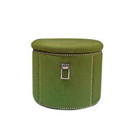 Ali baba official website Folding Green Fabric Round Foot Rest Stool storage ottoman at home
