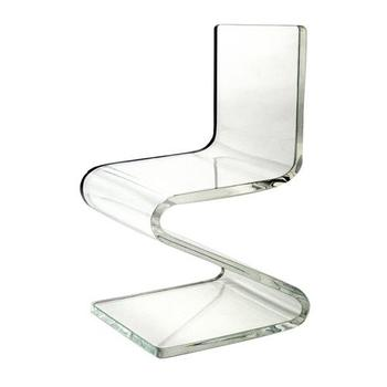 Acrylic Lucite Clear Dining Chairs Transparent Z Shape Custom Cushion  Fabric Stools Factory