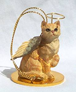 CAT RED Ginger Tabby Short hair MINIATURE Angel Christmas Ornament NEW Resin CTA04 by Eyedeal Figurines