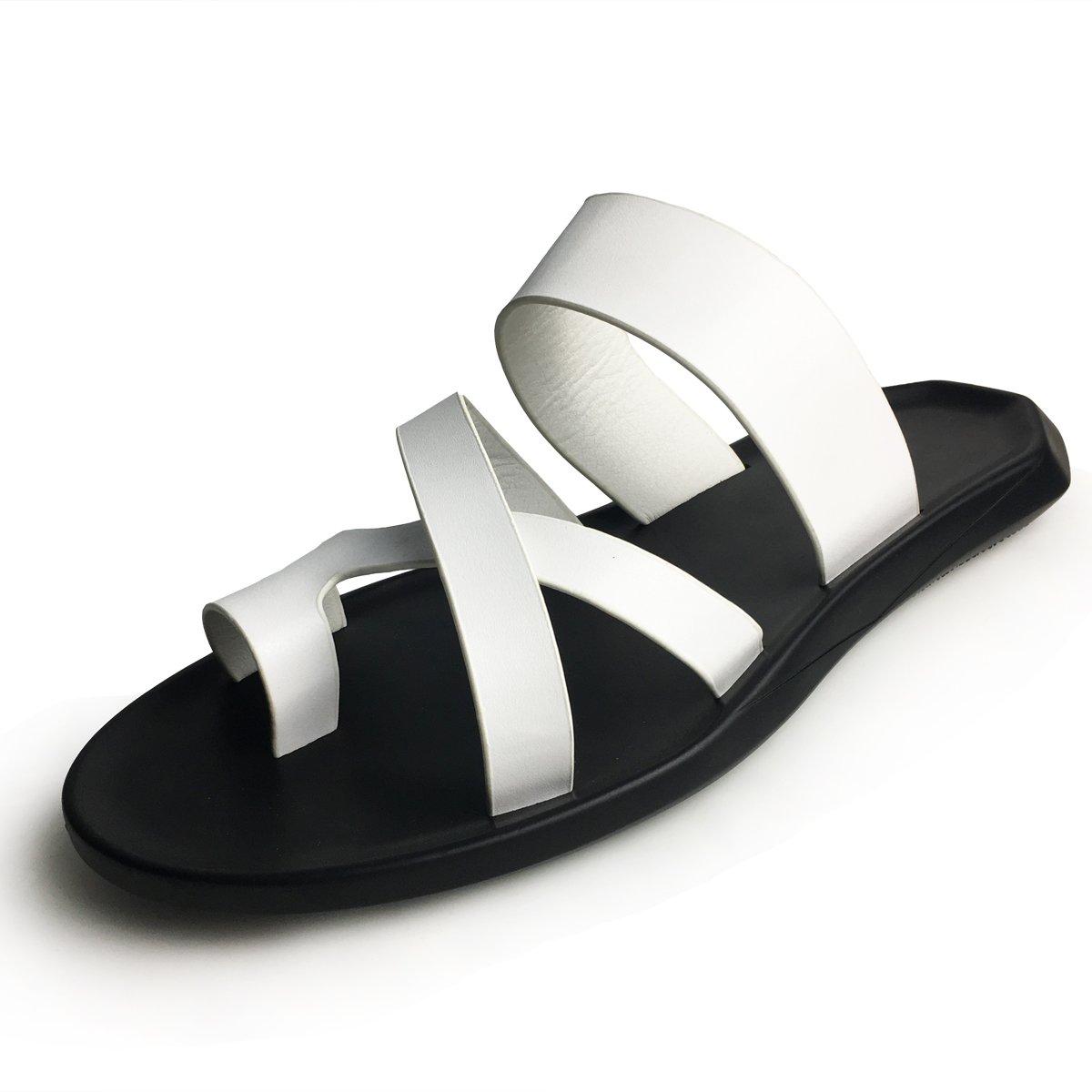 365b63984f10 URBANFIND Men s Beach Wedding Flip Flops Vintage PU Leather Thong Slides  Sandals Casual Summer Mules Clogs