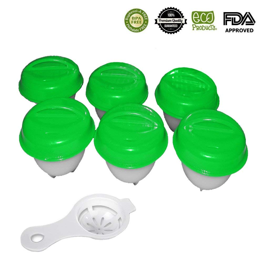 Silicone Egg Cooker,BPA Free, Non Stick Silicone, Hard Boiled Eggs without the Shell, Soft Maker Egg Cooker, Perfect Gift Kitchen tool for Mother women(6 Pack,Green)