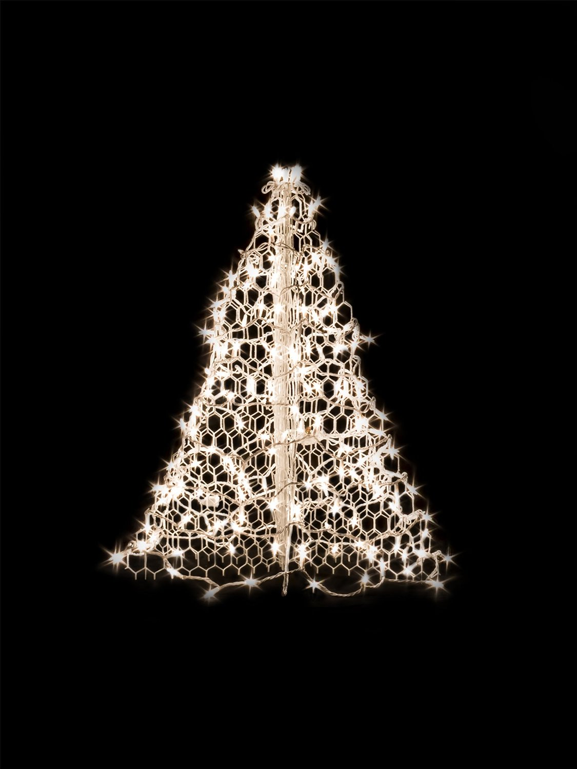 3' White Wire Crab Pot Christmas Tree with 200 Clear Incandescent Mini Lights