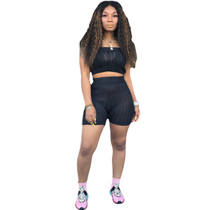 New Arrivals Fashion Women Casual Wrap Chest Sleeveless Crop Top Short Pants 2 Pieces Set Solid Knitted Outfits Jumpsuit