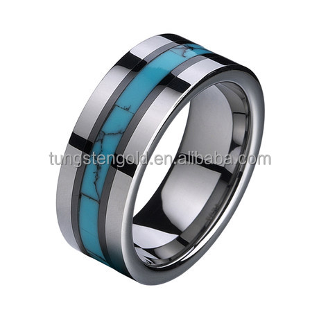 "Tungsten Carbide Ring Blue Turquoise ""Turkey Stone"" Inlay Tungsten Rings Wedding Rings"