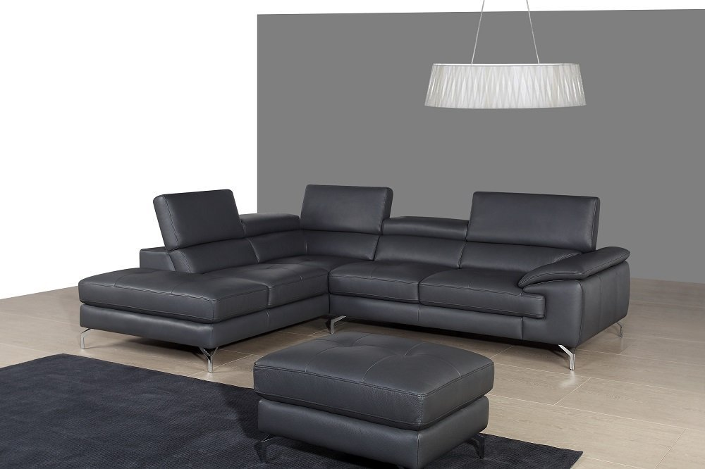 JNM Furniture A973 Modern Ash Grey Italian Leather Sectional Sofa with Left Chaise
