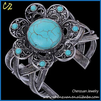 Eco-friendly antique silver turquoise cuff bracelet style turquoise chunky bracelet from turquoise silver jewelry