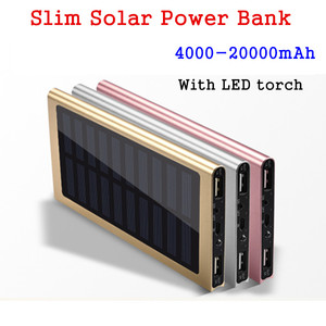 Aluminium Alloy Ultra Thin Solar Power Bank 20000mah Usb Solar Panel Power Bank Charger For Mobile Phone