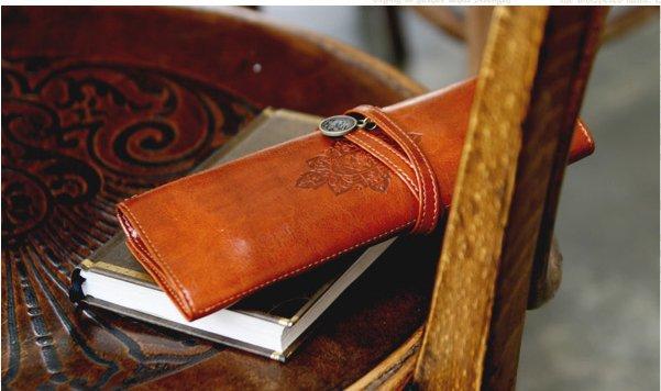 Rolle faltbare Federmäppchen aus Leder