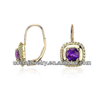 Amethyst Square Roped Drop Earrings Baby 14k Gold Jewelry Whole