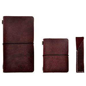 """Refillable Leather Notebook Vintage Travel Journal Diary Set, 4.7"""" x 8.6"""" &3.9"""" x 5.2"""", with Pen Holder, for Men Women Travelers Writing Gift, by ZLYC, Dark Red"""