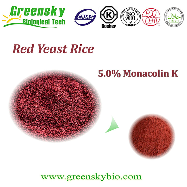 Greensky High Quality 5% Nature Red Yeast Rice Extract Powder