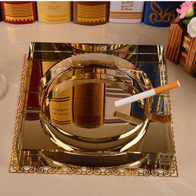 2016 custom promotional square crystal cigar ashtray for sale