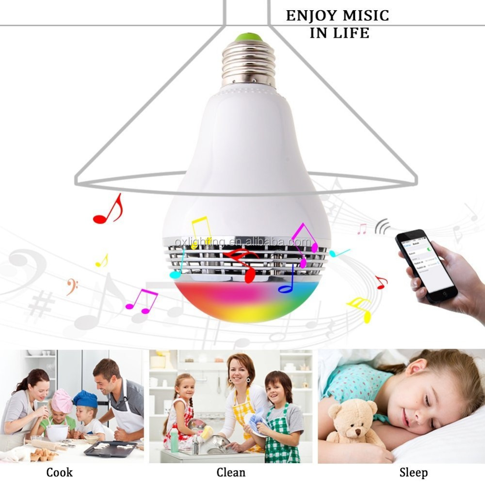 E27 RGB LED Bulb Bluetooth Pintar Lampu Colorful Lampu Dimmable Speaker Musik