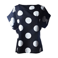 New Womens Summer Bird Print Heart Design Geometric Polka Dot Cute Loose Chiffon Short Sleeve Top