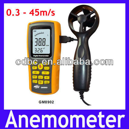Digital Anemometer GM8902 0~45m/s Display Air Velocity and Temperature and Windchill
