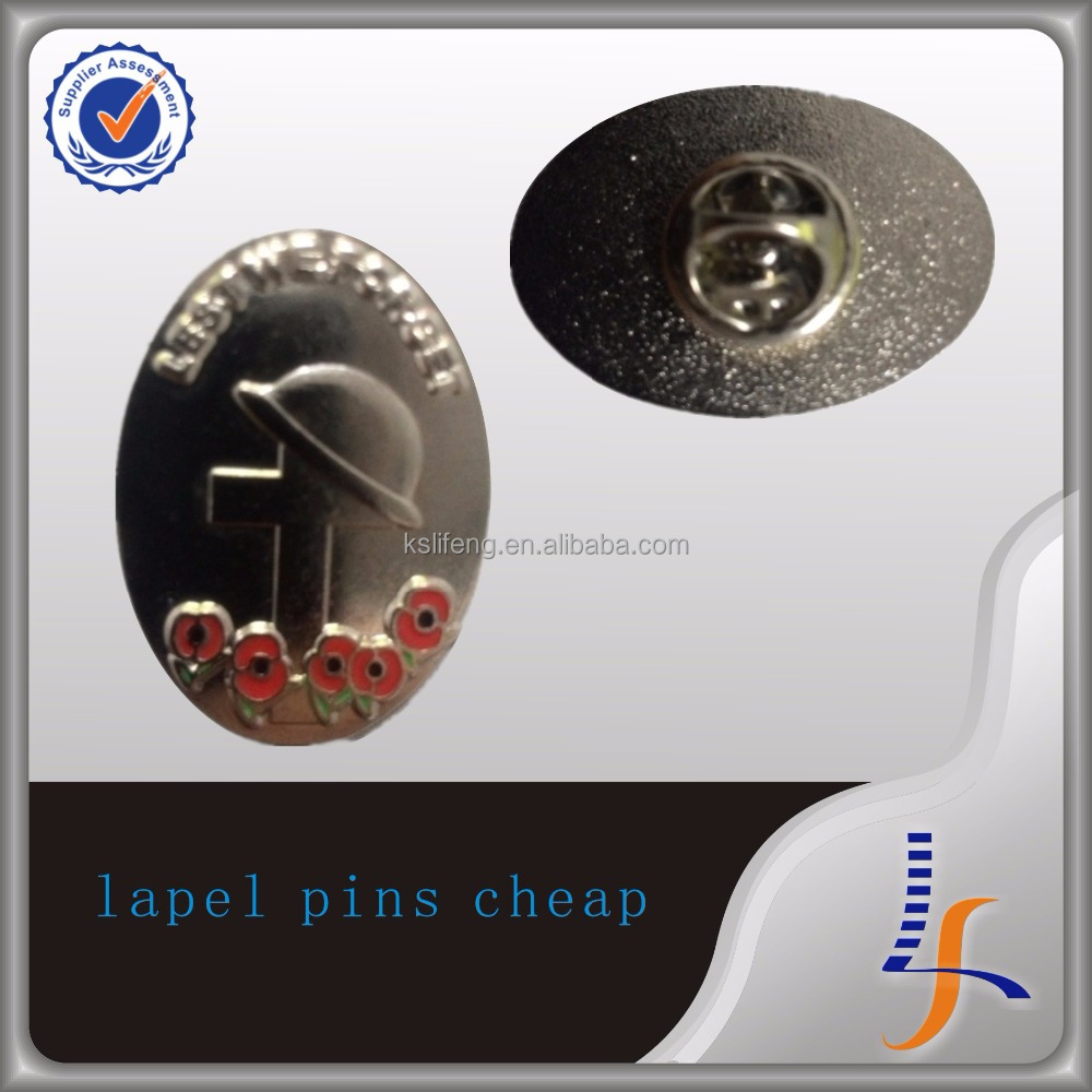 metal 3D logo pins wholesale poppy lapel pin cheap lapel pins