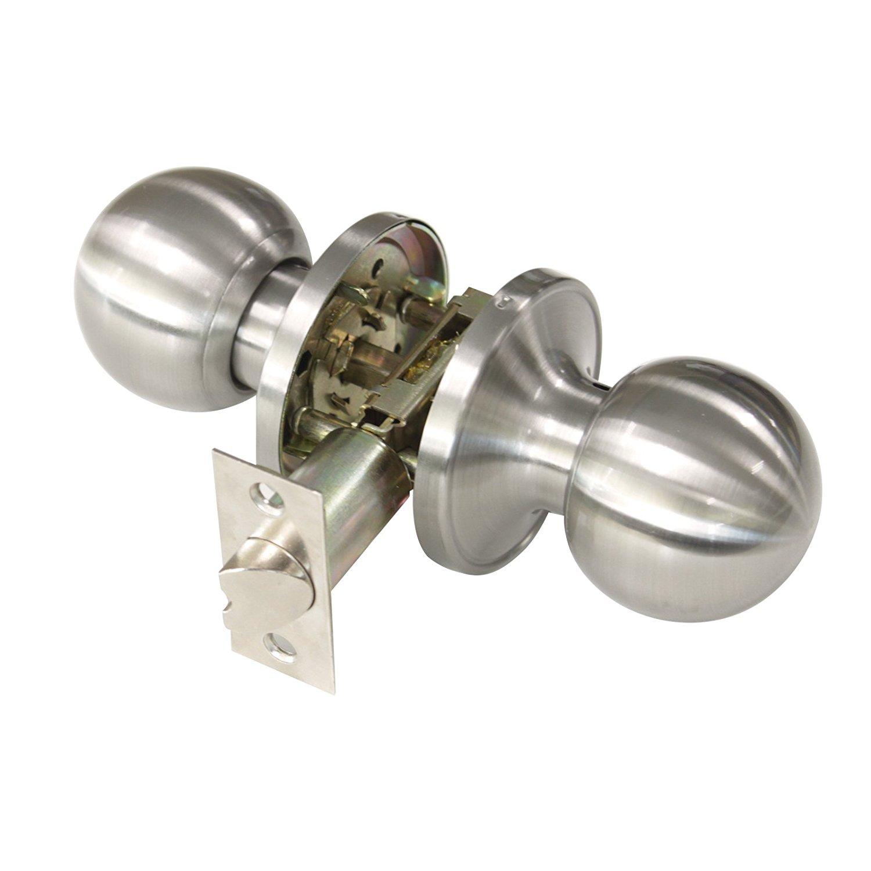 Get Quotations · Gobrico Passage Door Lock Satin Nickle Interior Keyless  Round Door Knobs Handles Locksets 10Pack